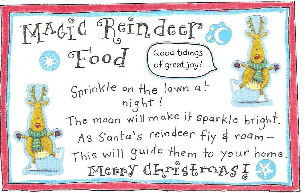 ... Fun and FREE Printable Magic Reindeer Food Tag! - Happy Home Fairy