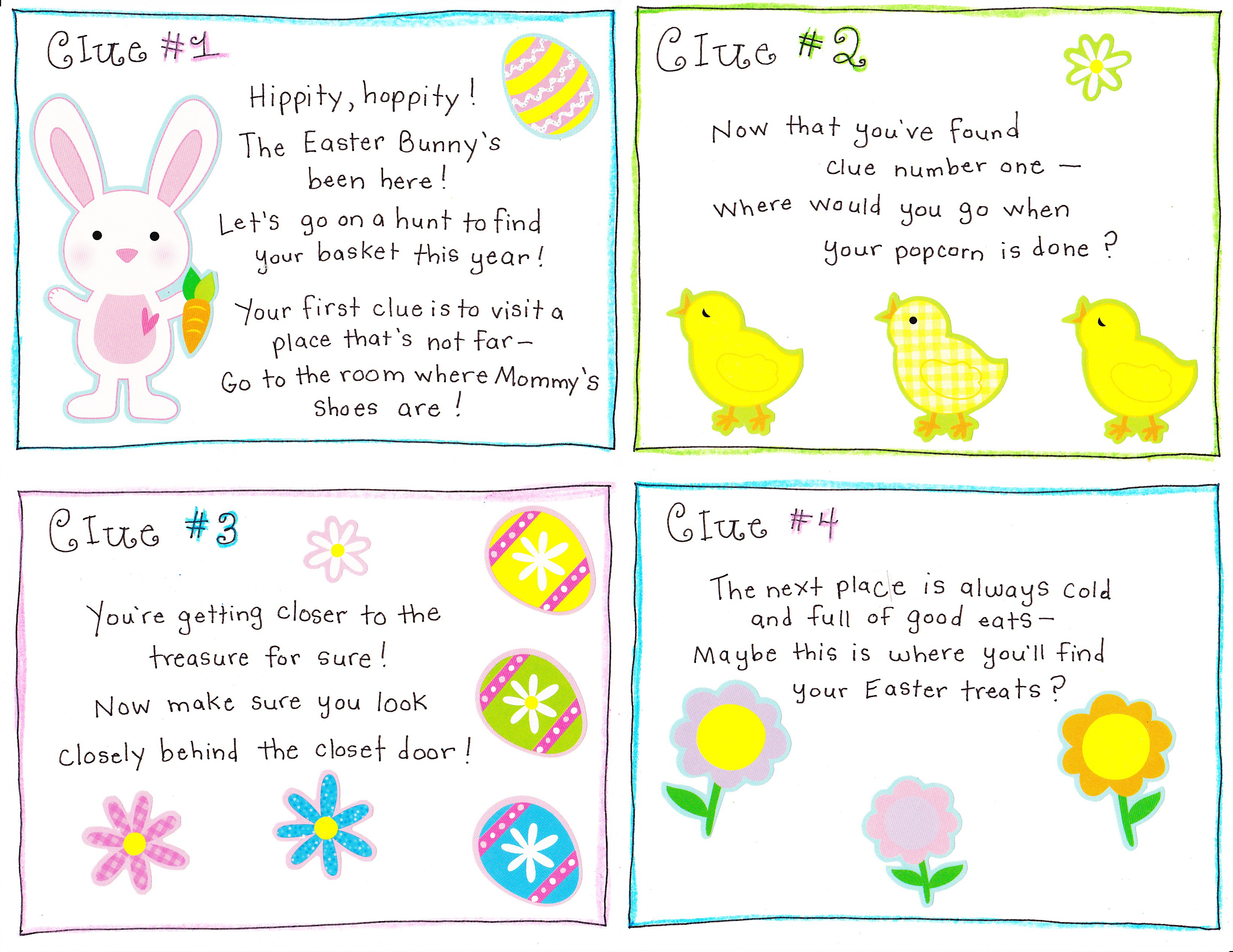 Easter Morning Scavenger Hunt Free Printable Happy