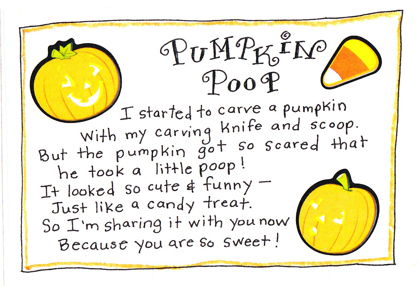 Pumpkin Poop FREE Printable Happy Home Fairy