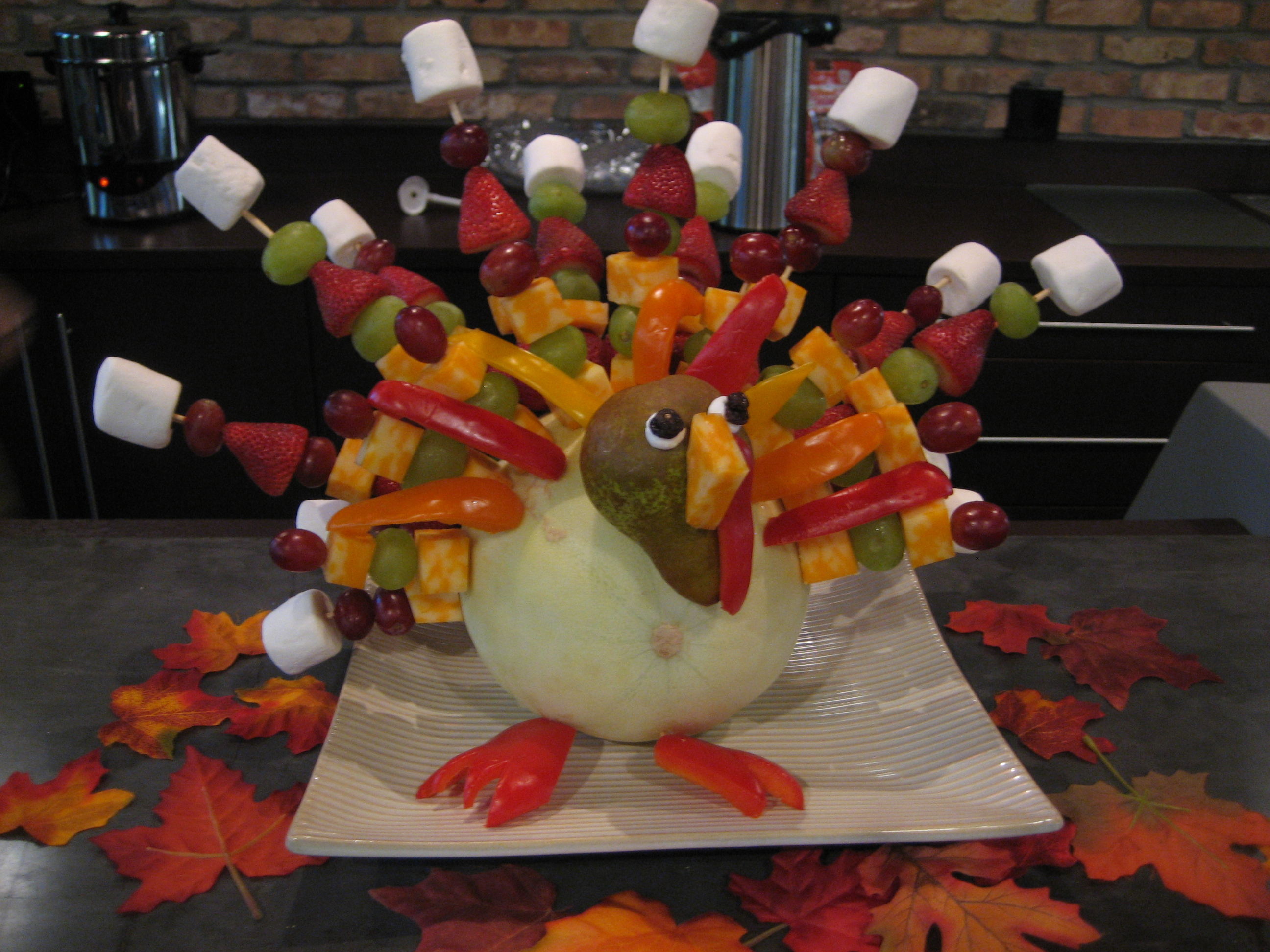 Thanksgiving Decorations Office : The fruit kabob turkey happy home fairy