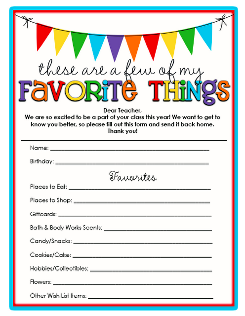 FREE Printables for Back to School Teacher Gift Ideas Happy – Free Printable Questionnaire Template