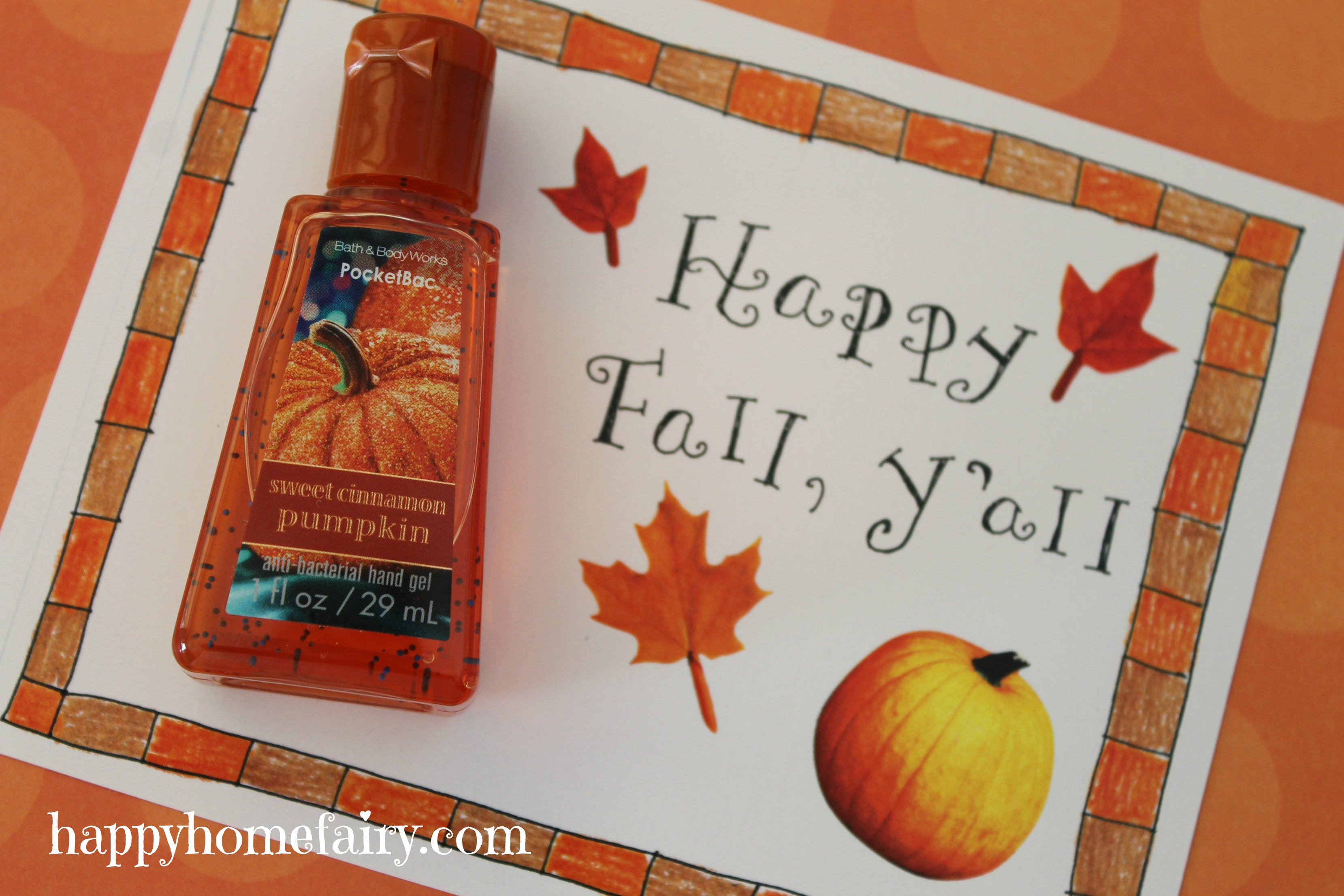 FREE Printable Fall Hand Sanitizer Gift - Happy Home Fairy