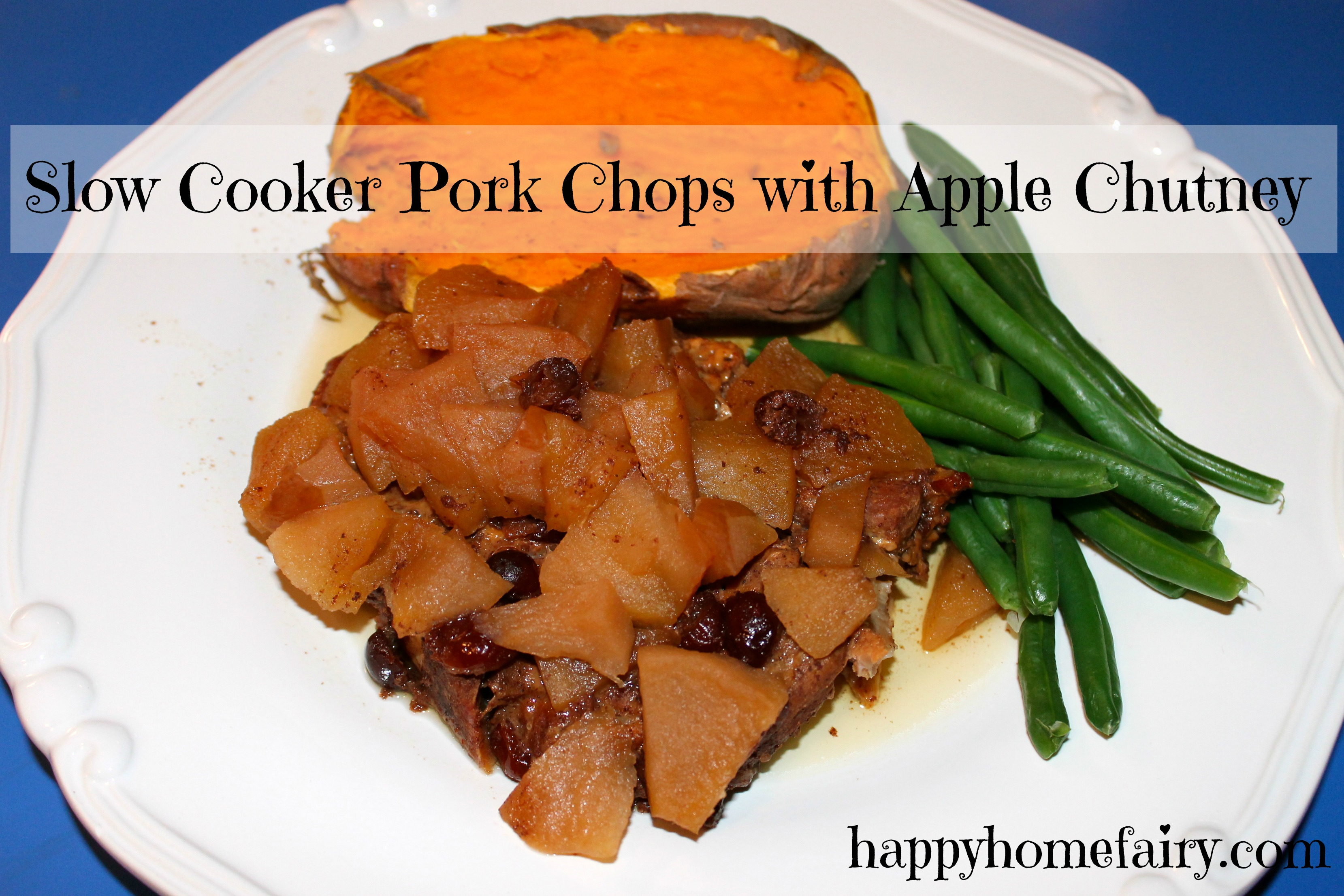 Recipe - Slow Cooker Pork Chops with Apple Chutney - Happy Home Fairy