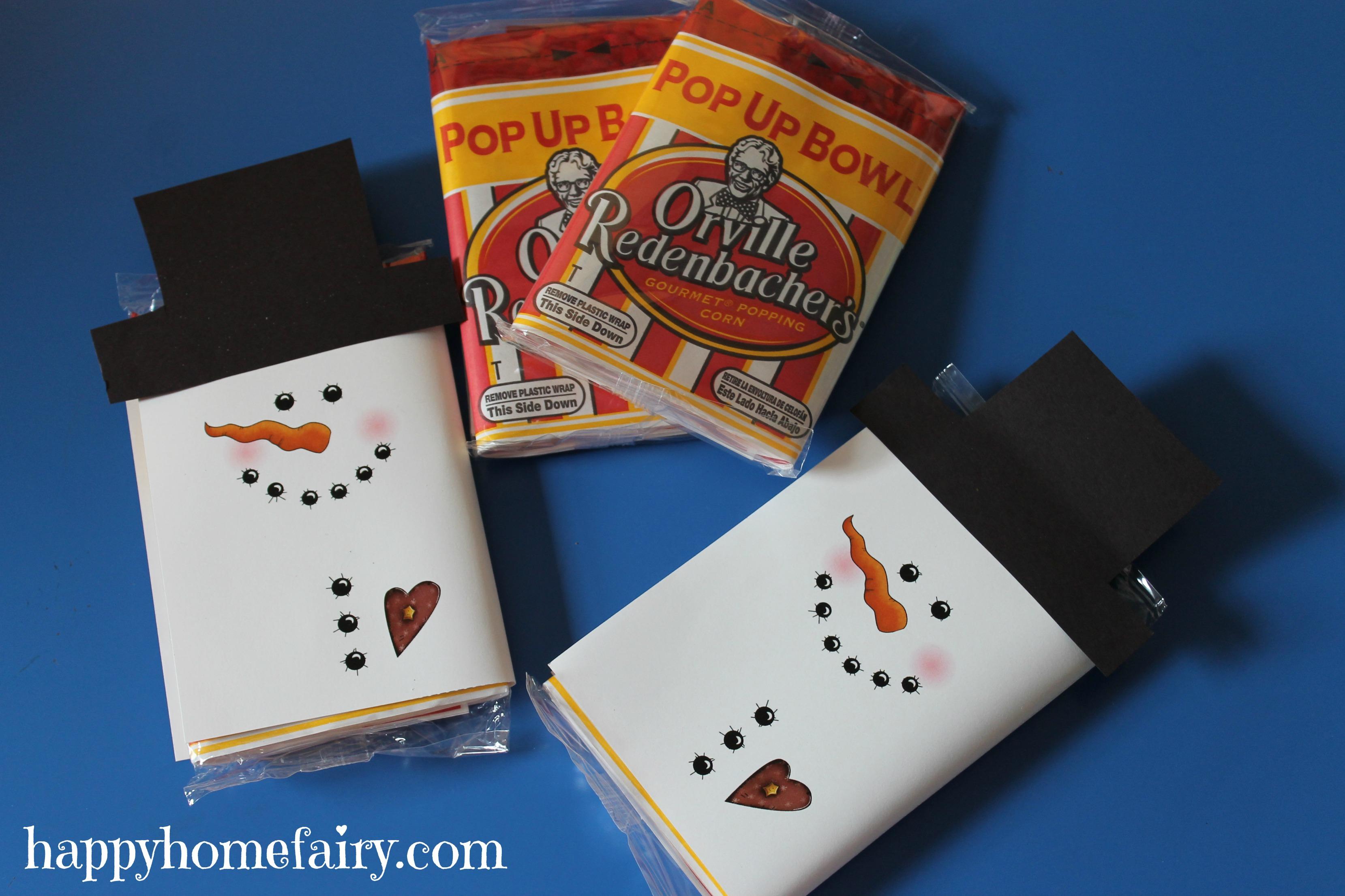 Snowman Popcorn Wrapper - FREE Printable! - Happy Home Fairy