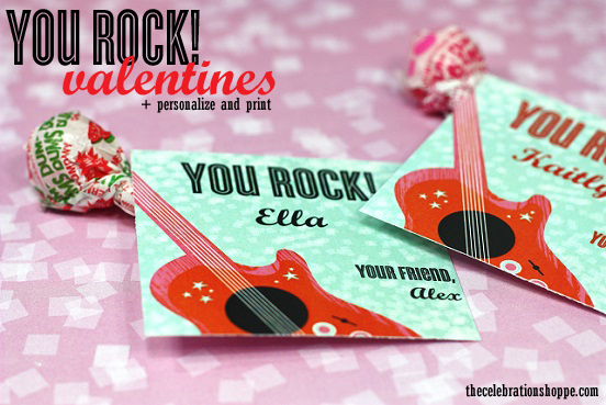 It's just a photo of Rare You Rock Valentine Printable