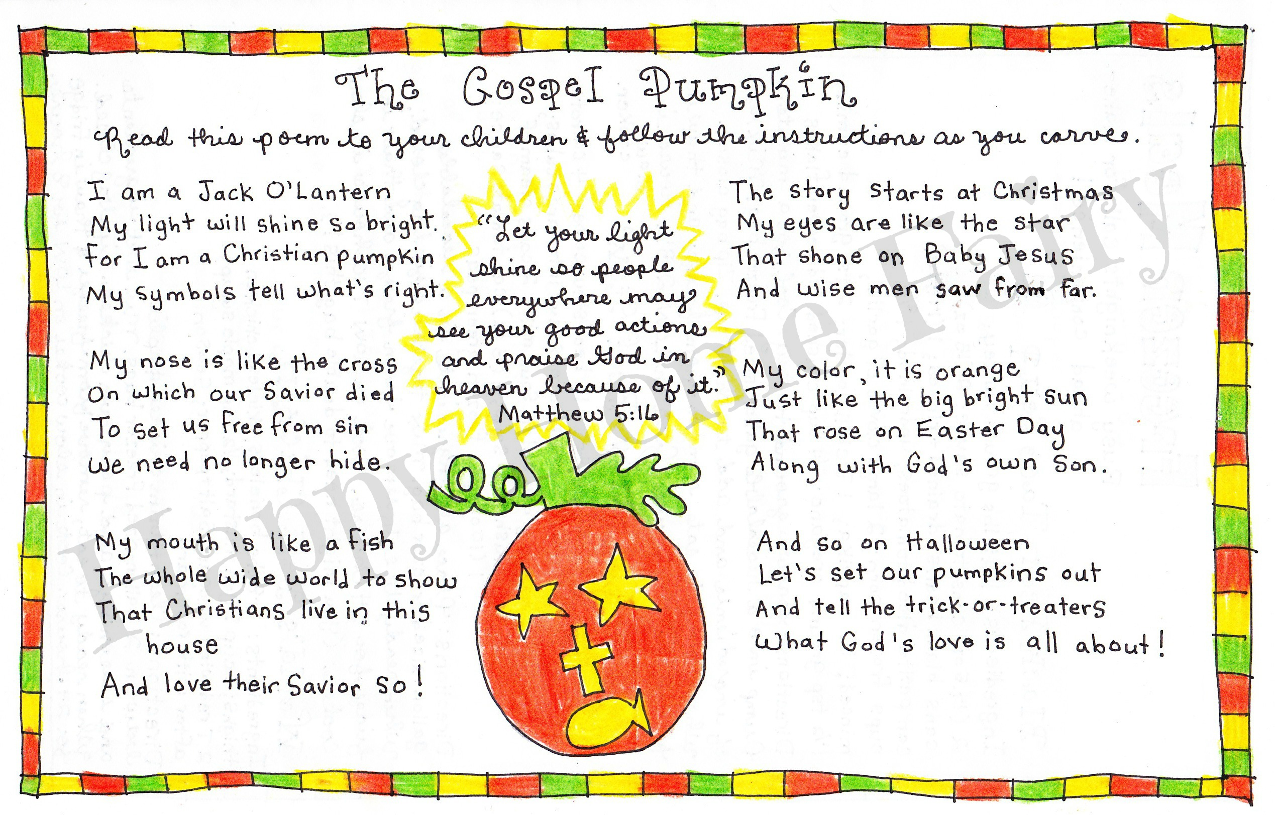 Impertinent image regarding pumpkin gospel printable