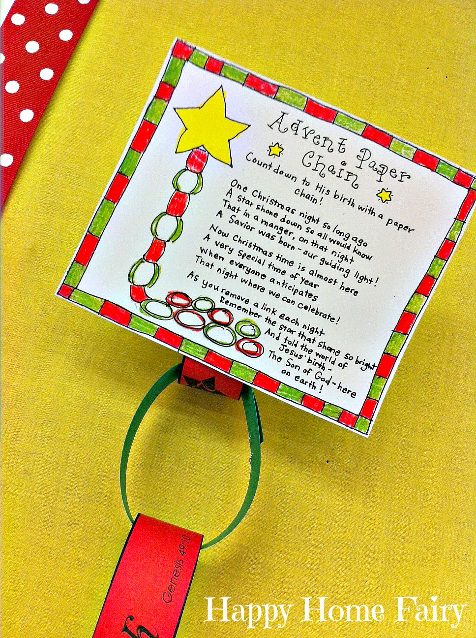 Advent Calendar Art Lesson : Advent paper chain countdown free printable happy home