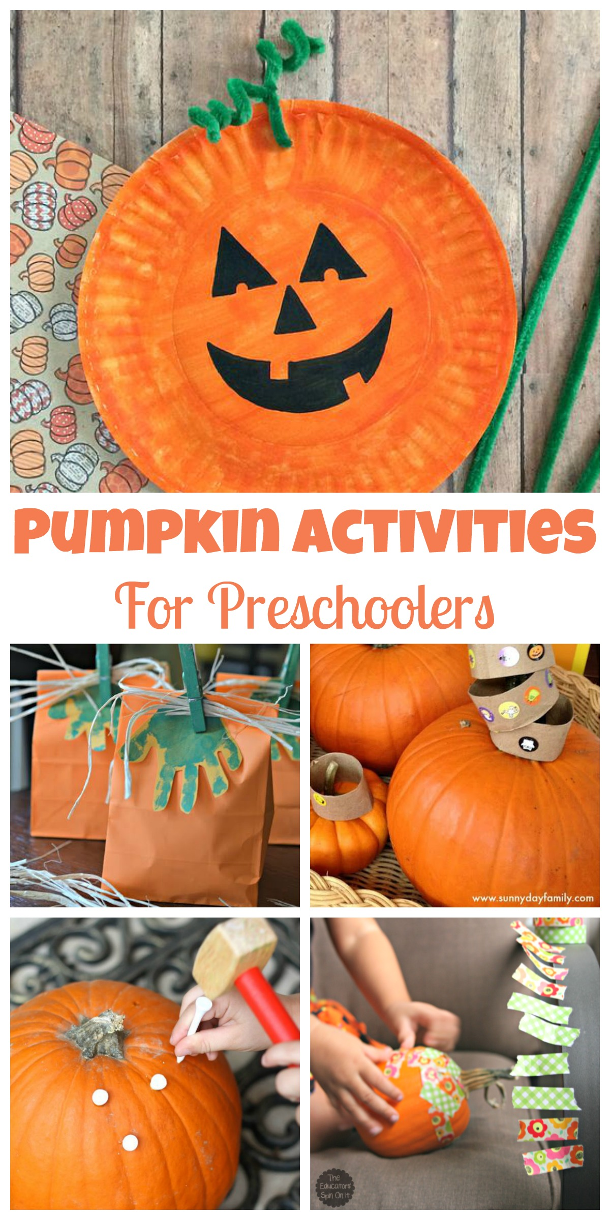 It is a photo of Massif Pumpkin Crafts for Preschool