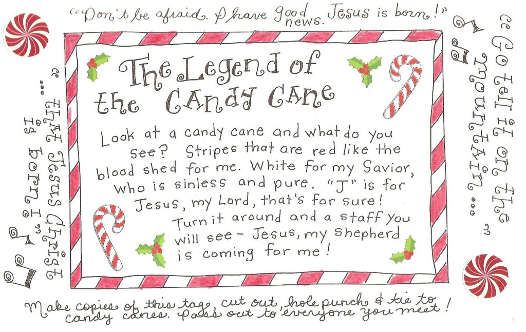 The Legend Of The Candy Cane  Free Printable Tag  Happy Home Fairy