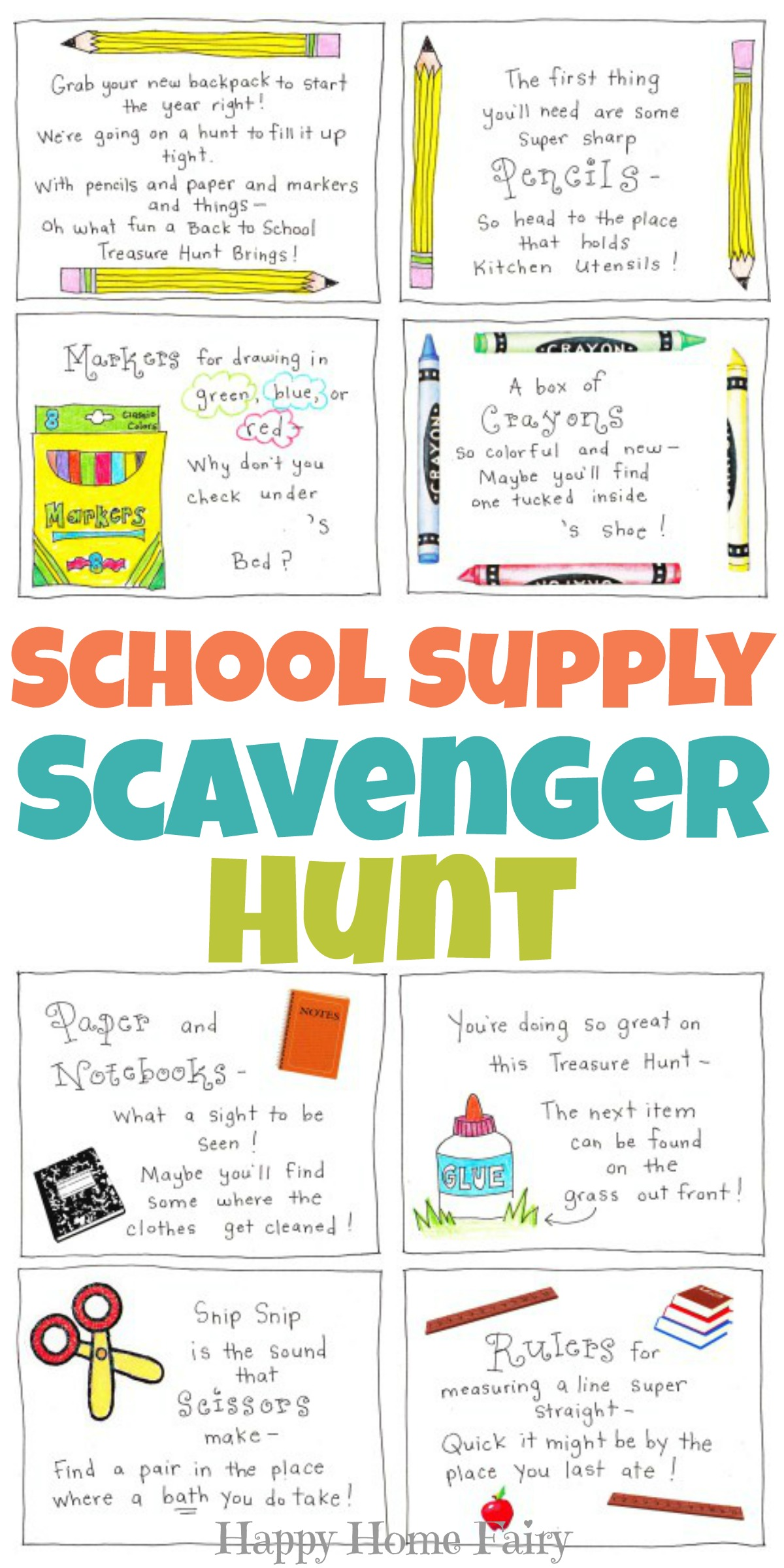 Back to School Supply Scavenger Hunt FREE Printable Happy