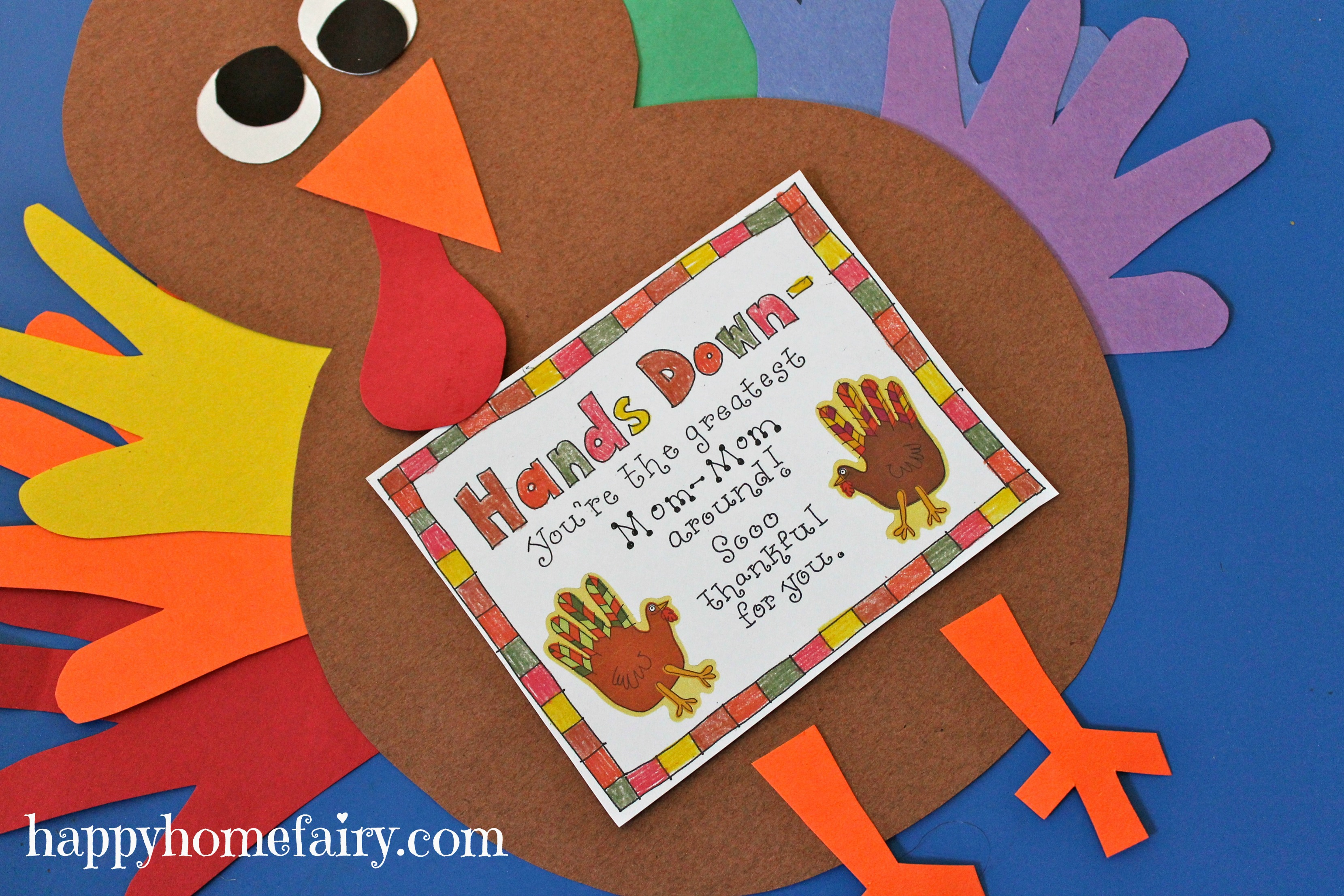 Thankful handprint turkey craft free printable happy for Thanksgiving craft templates printable