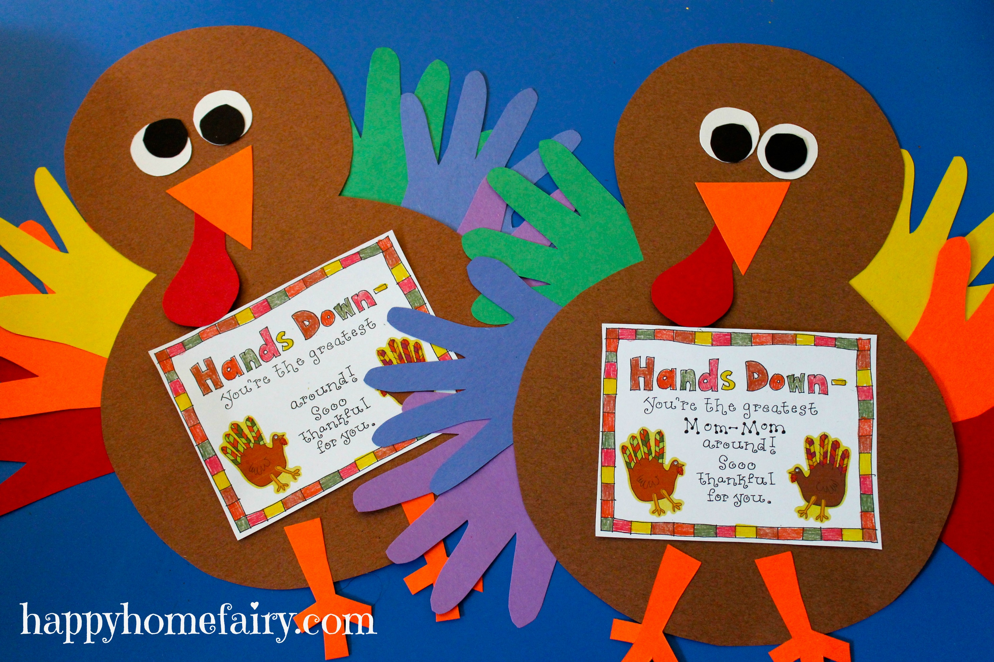 Thankful handprint turkey craft free printable happy for November arts and crafts for daycare