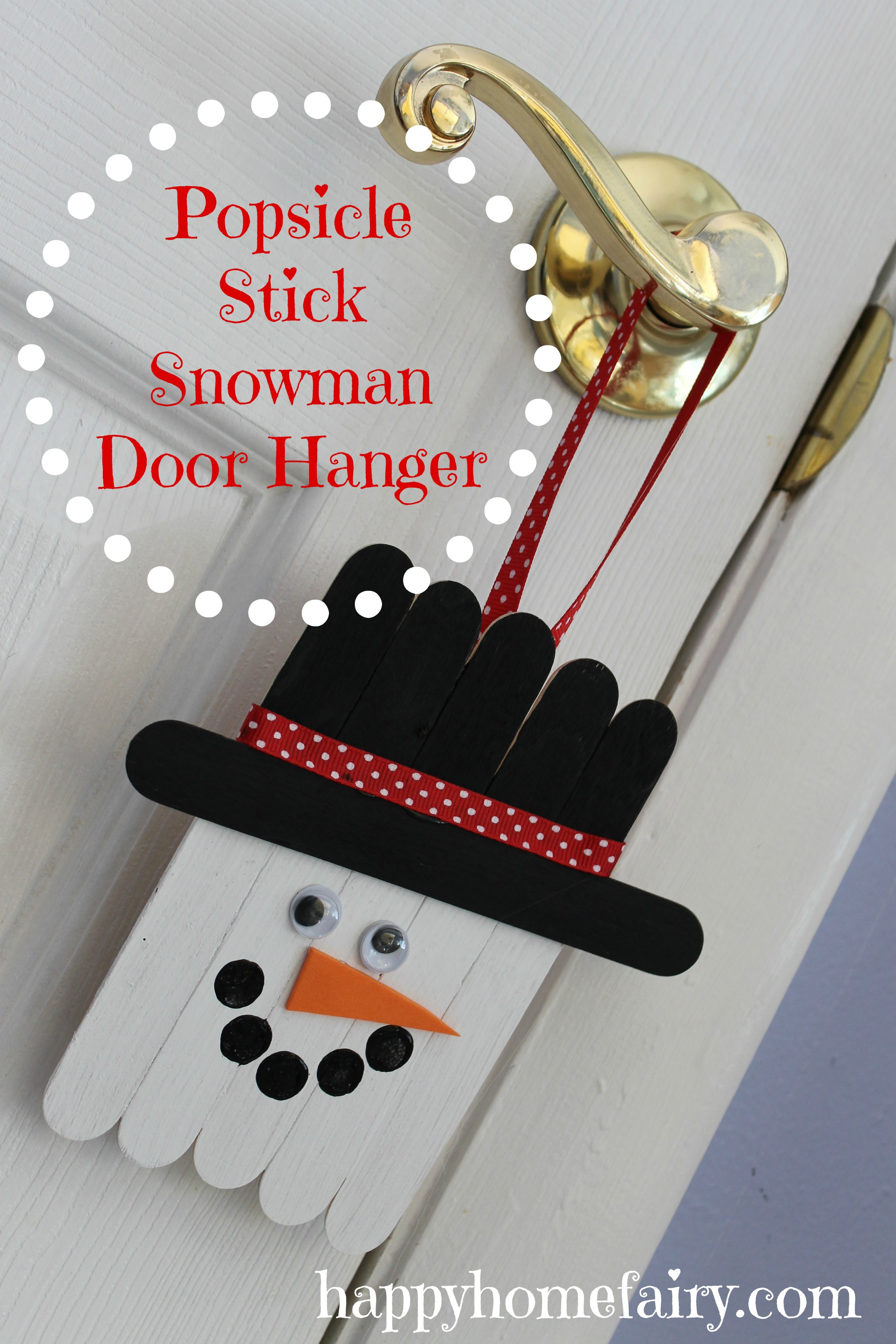 Popsicle Stick Snowman Door Hanger Happy Home Fairy