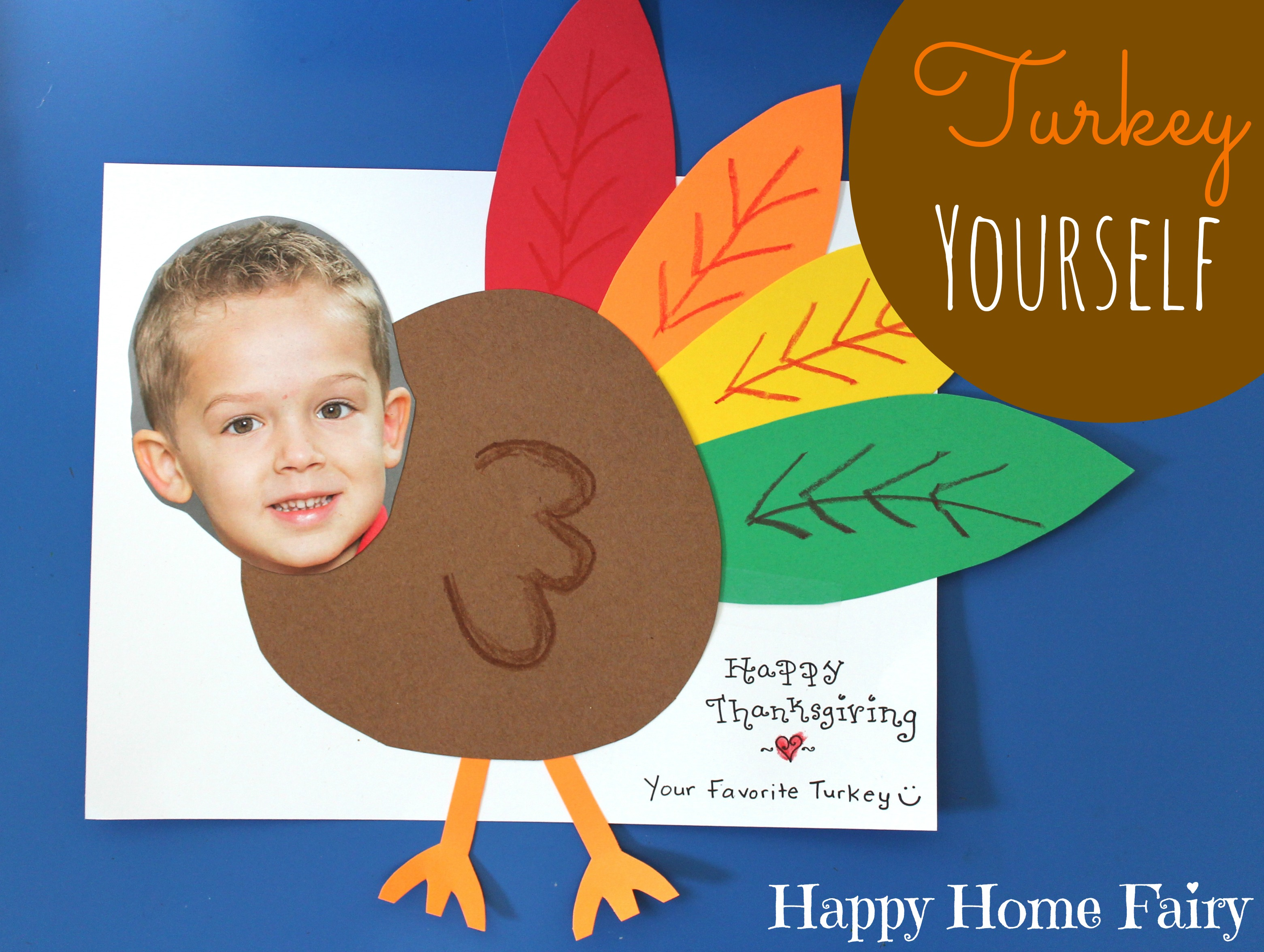 Cute craft alert turkey yourself happy home fairy for Thanksgiving craft ideas for kindergarten