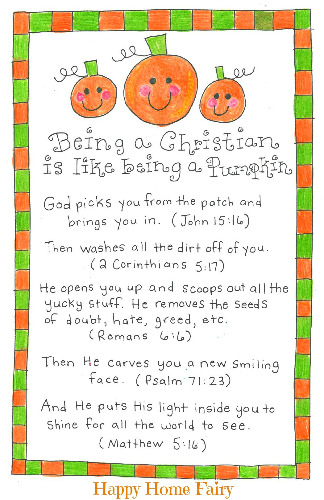 Being A Christian Is Like Being A Pumpkin   FREE Printable!   Happy Home  Fairy  Free Printable Religious Easter Cards