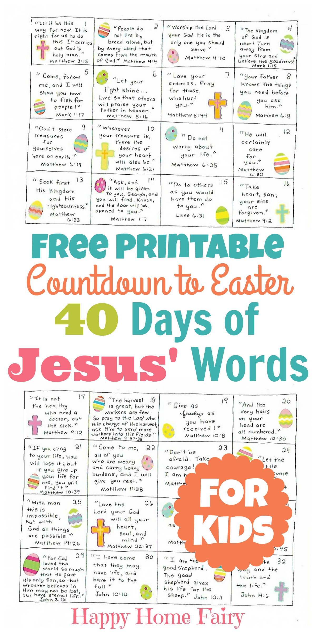 Countdown to Easter - 40 Days of Jesus' Words for Kids ...